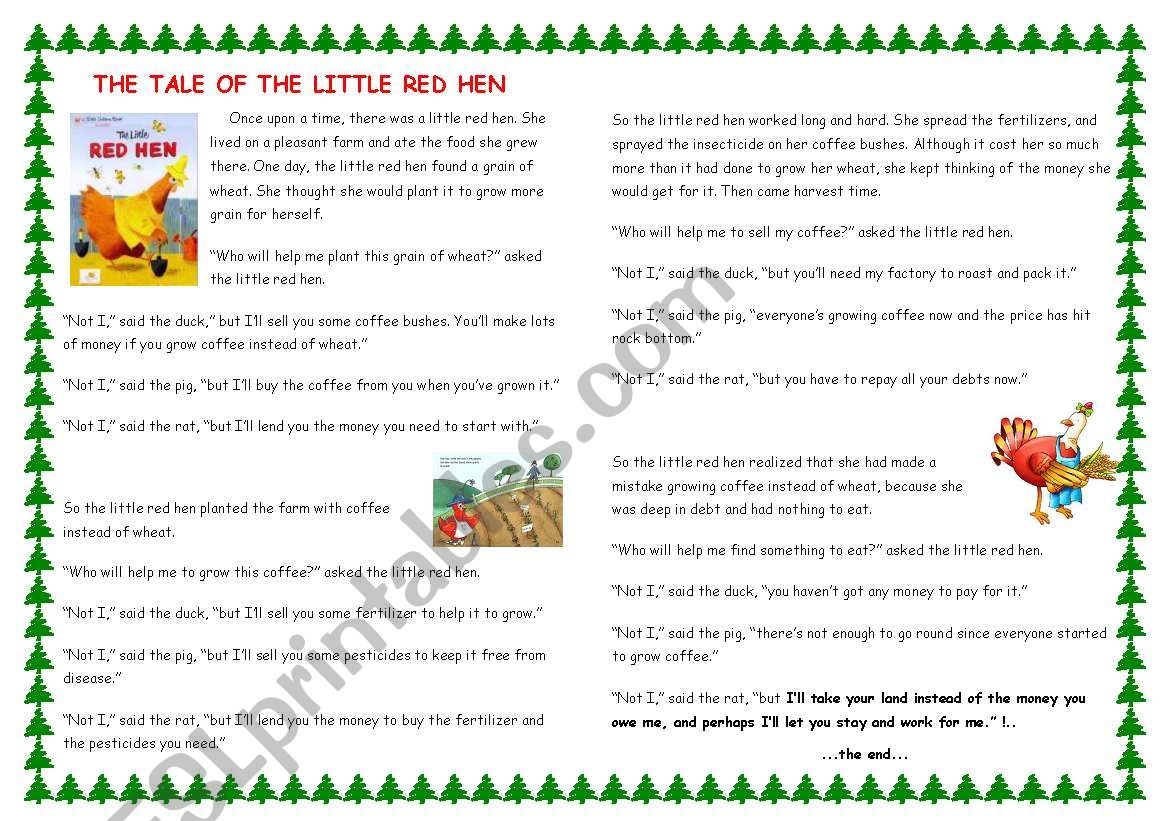 The Tale Of The Little Red Hen With Comprehension