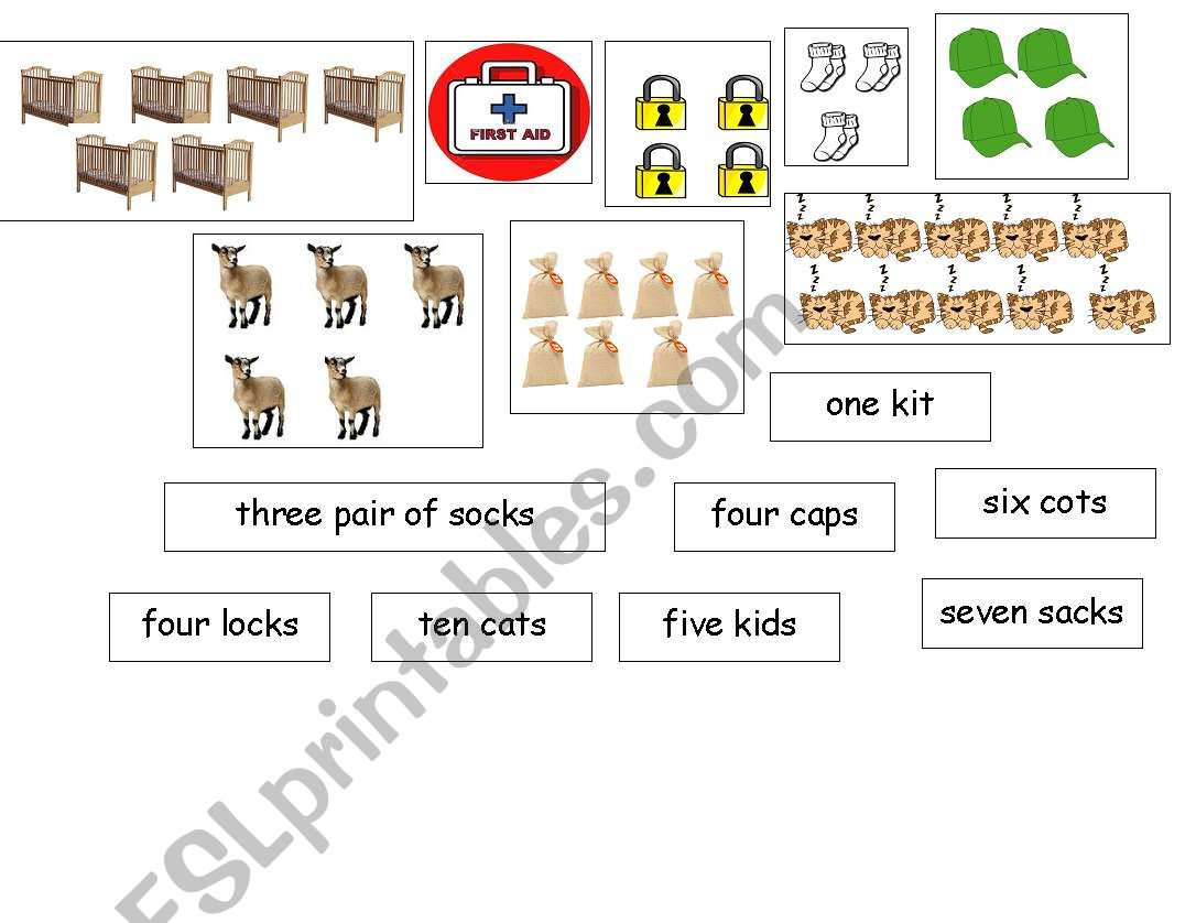 English Worksheets Cut And Paste Counting