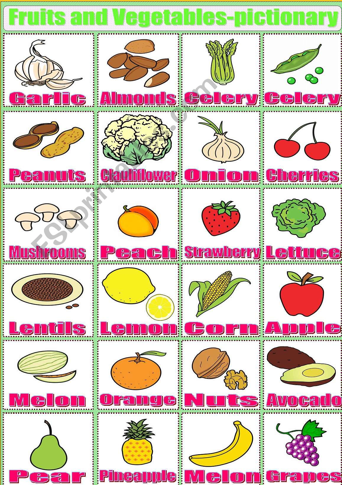 Fruits And Vegetables Pictionary