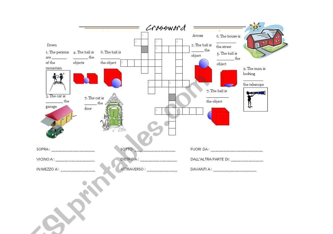English Worksheets Crossword