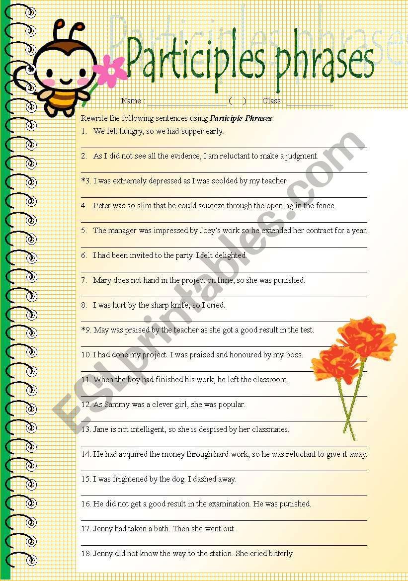 Rewrite Sentences In Participle Phrases