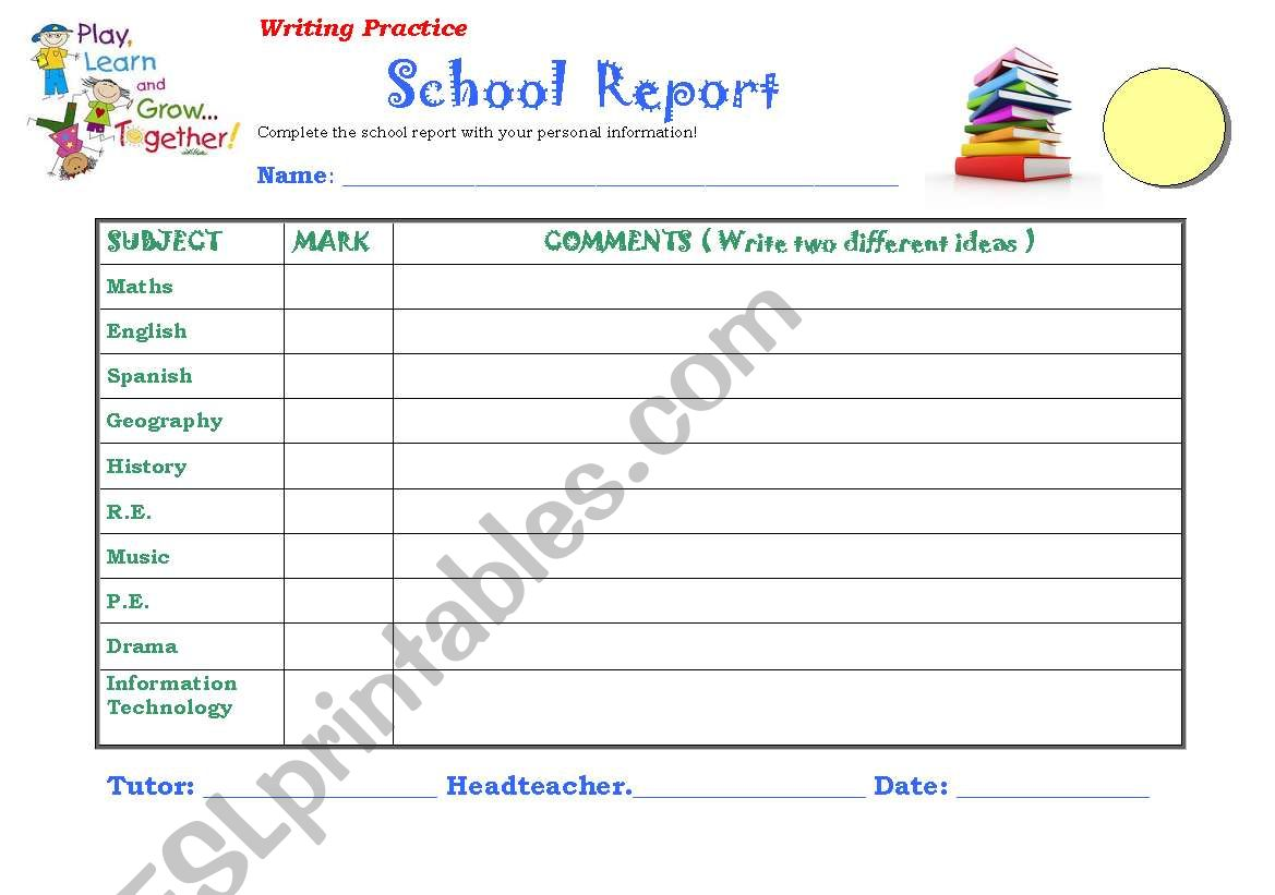 English Worksheets Report Card Template