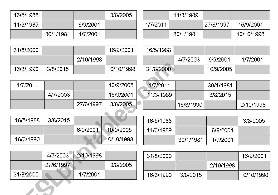 Dates Bingo