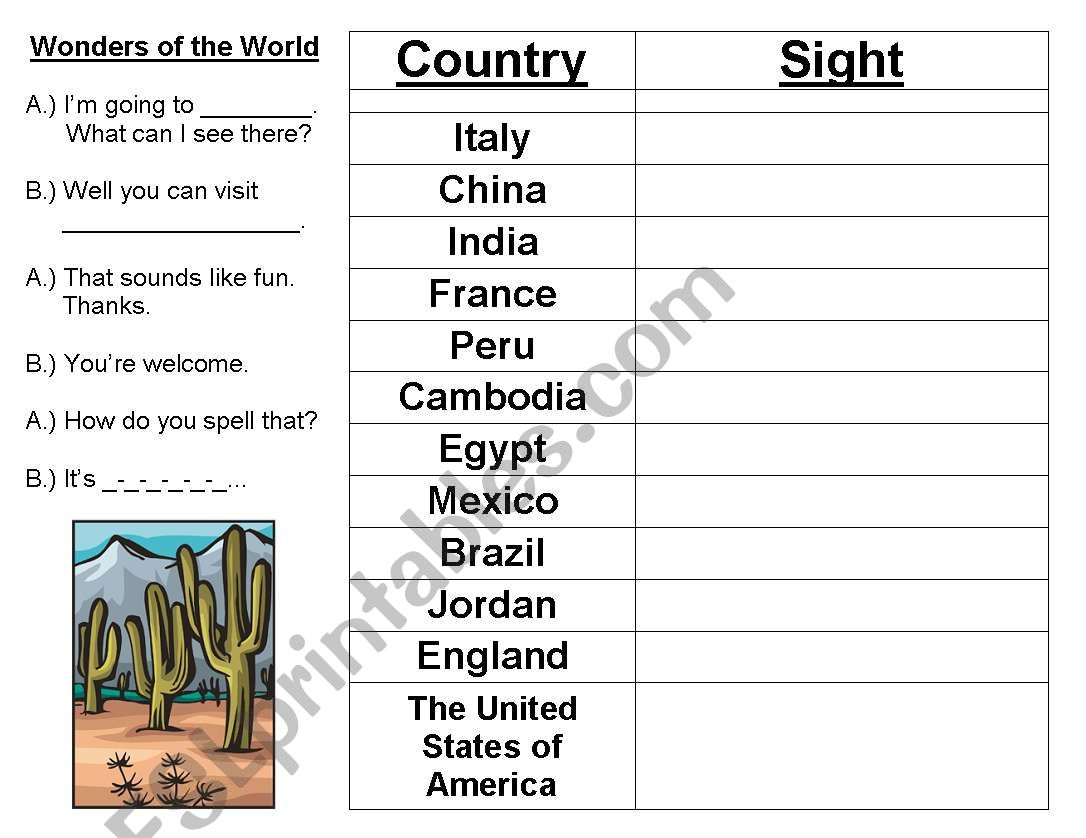 English Worksheets Wonders Of The World