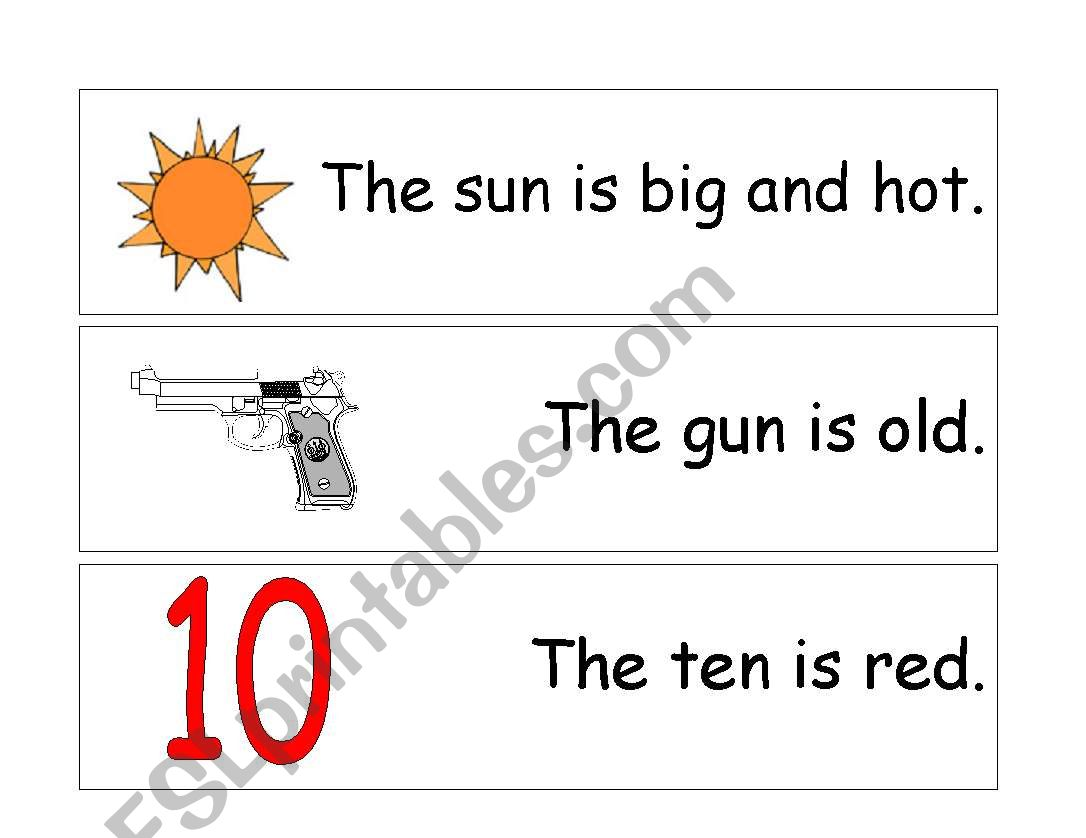 English Worksheets Three Letter Word Sentences 1 To 21