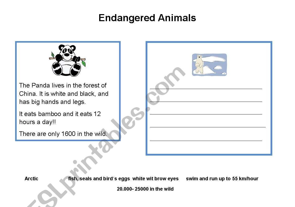 English Worksheets Endangered Animals