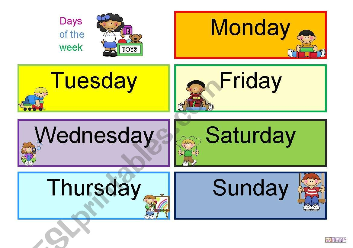 Days Of The Week Daily Routine Activity
