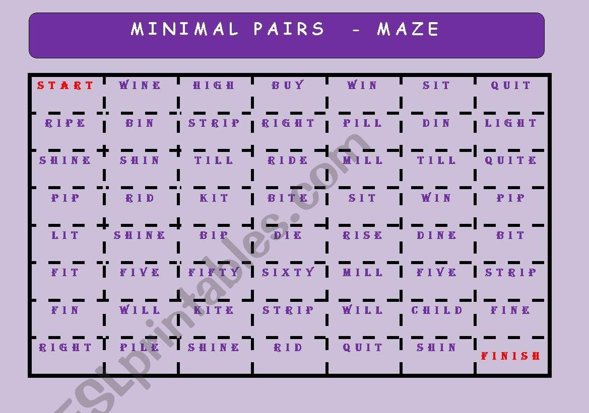 Minimal Pairs Maze Key