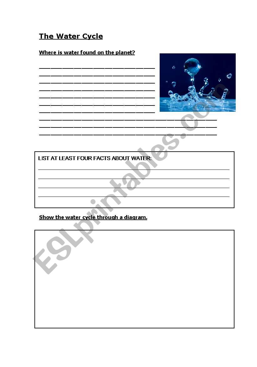 hight resolution of water cycle writing worksheet