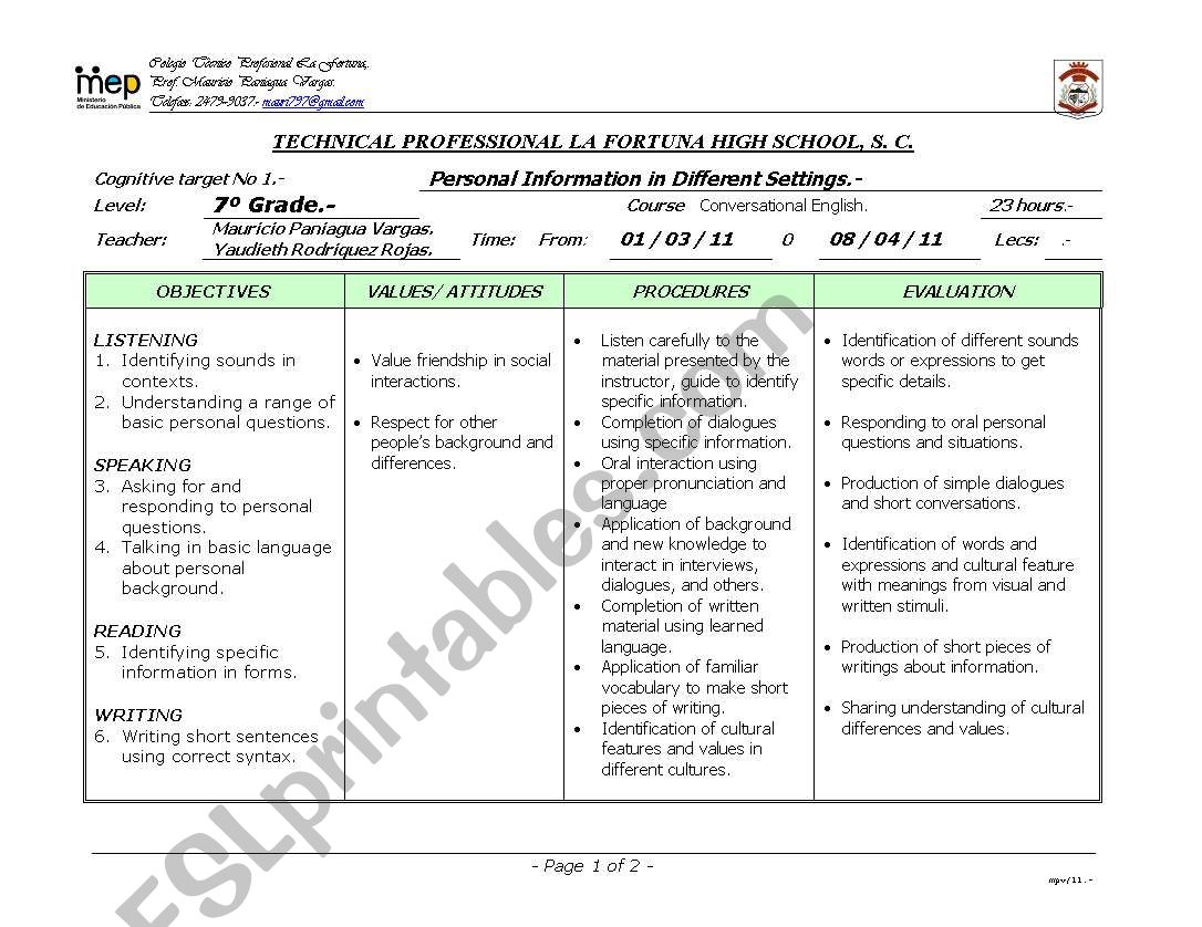 English Worksheets Unit 1 Personal Information In