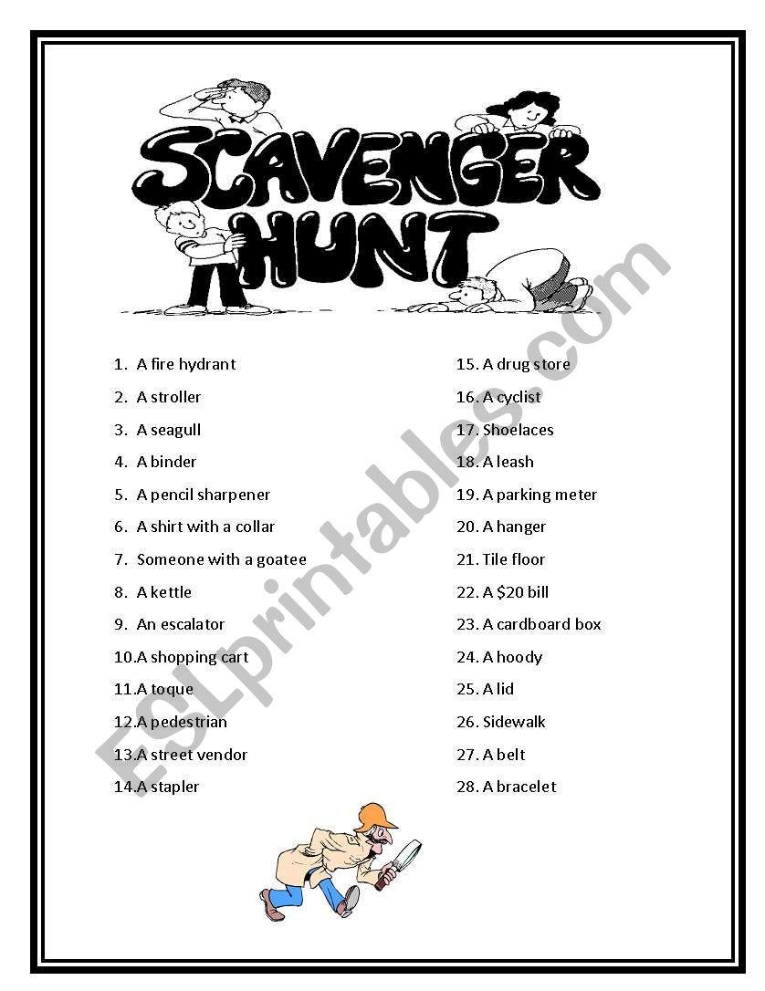 English worksheets: Vocabulary Scavenger Hunt