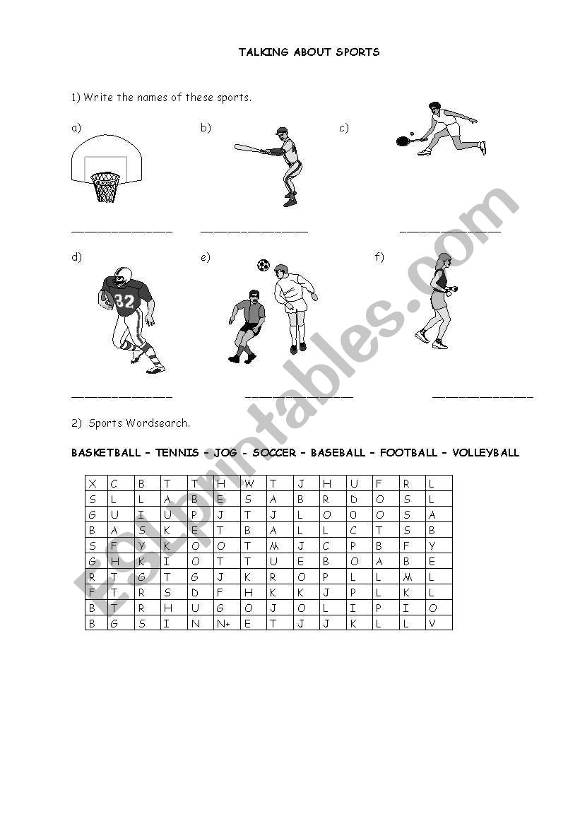 English worksheets: talking about sports