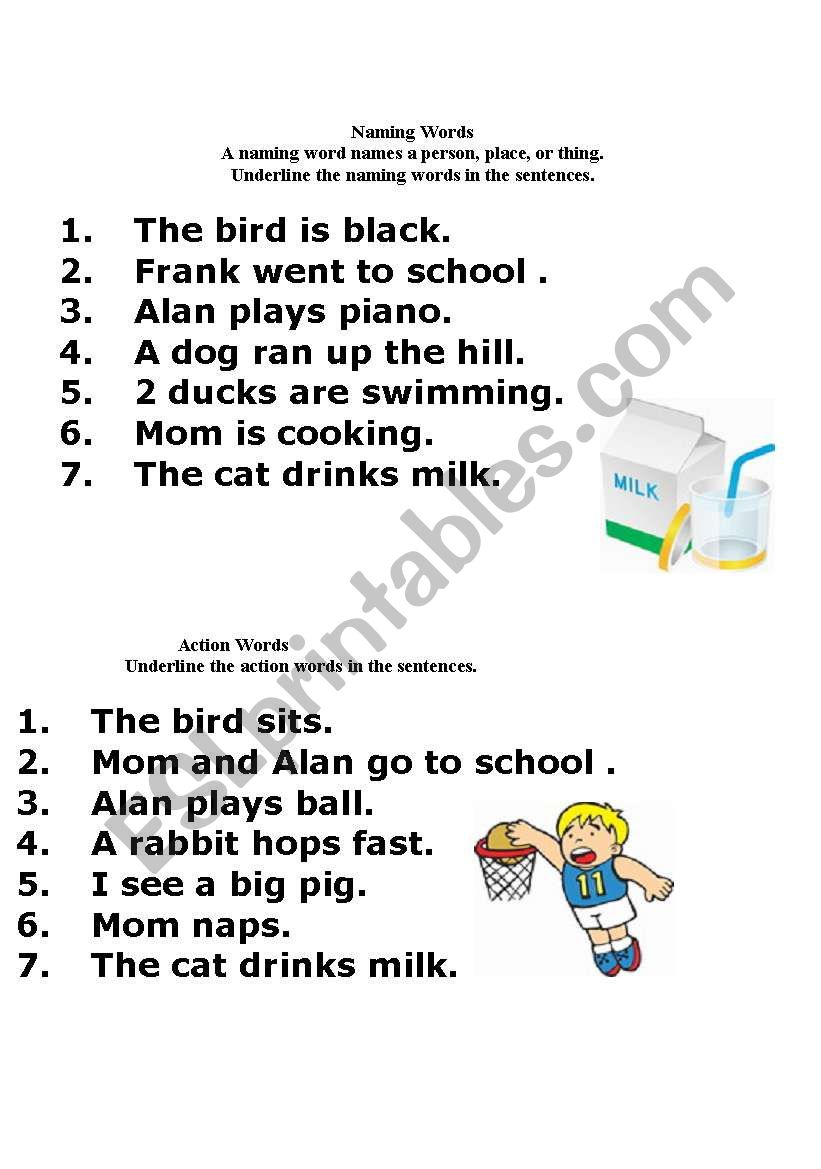 English Worksheets Naming Words