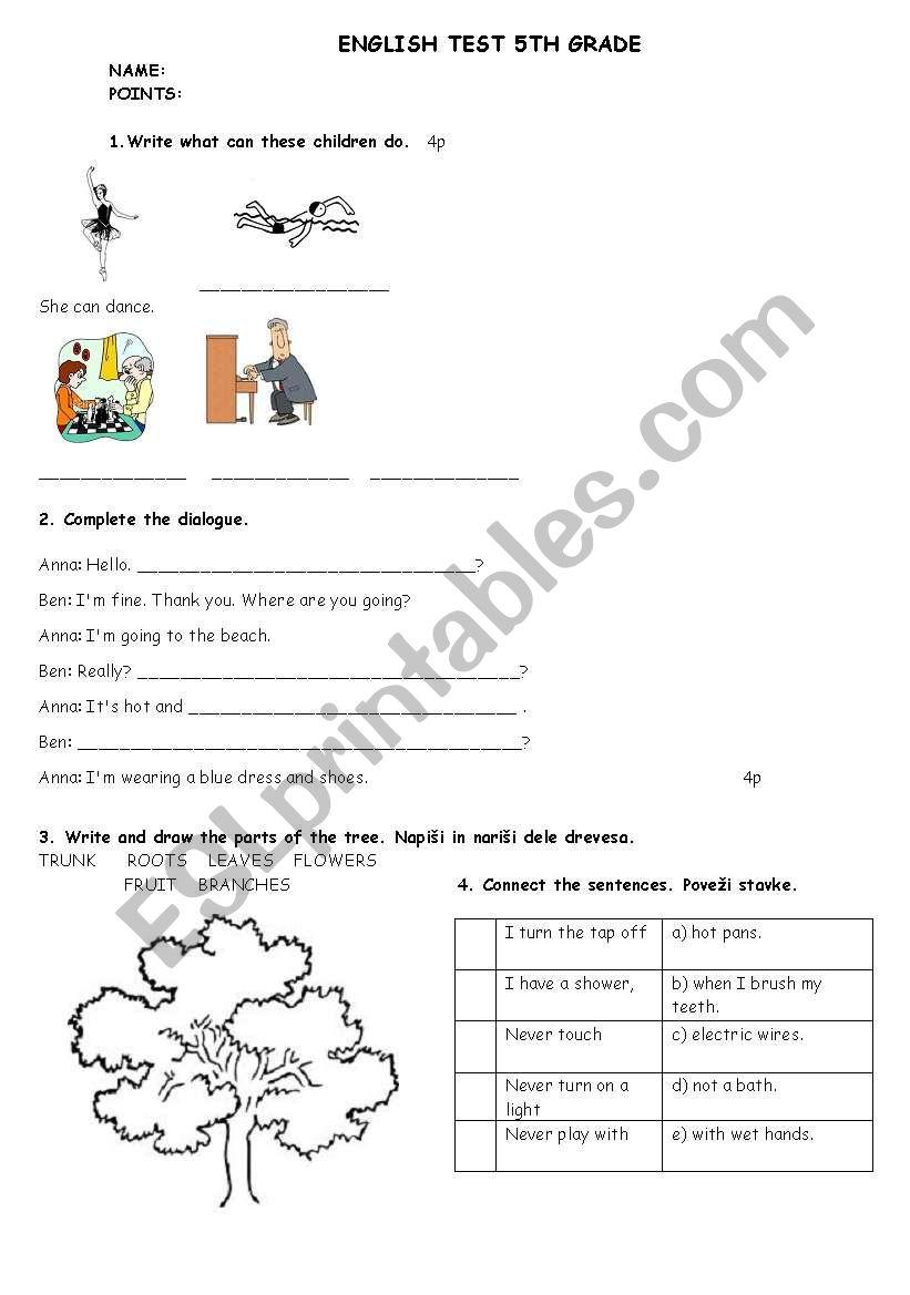 medium resolution of ENGLISH TEST 5TH GRADE - ESL worksheet by matejamotorola