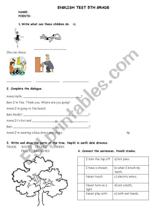 small resolution of ENGLISH TEST 5TH GRADE - ESL worksheet by matejamotorola