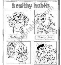 Healthy Habits - ESL worksheet by Maleandra [ 1255 x 834 Pixel ]