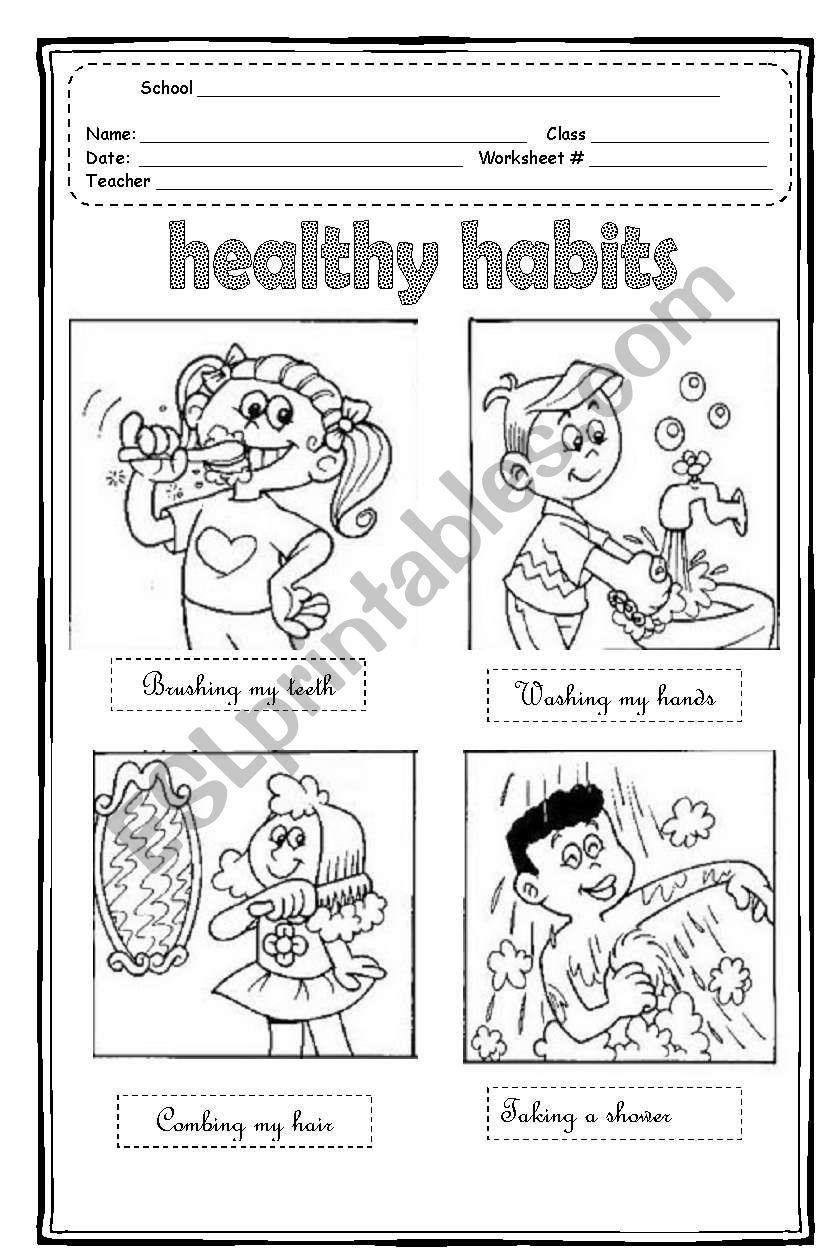 hight resolution of Healthy Habits - ESL worksheet by Maleandra
