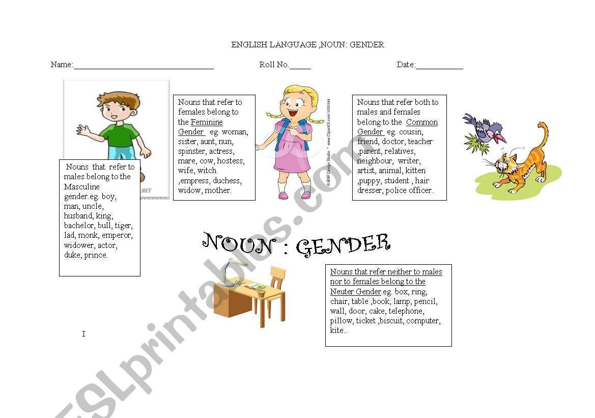 English Worksheets Noun Gender