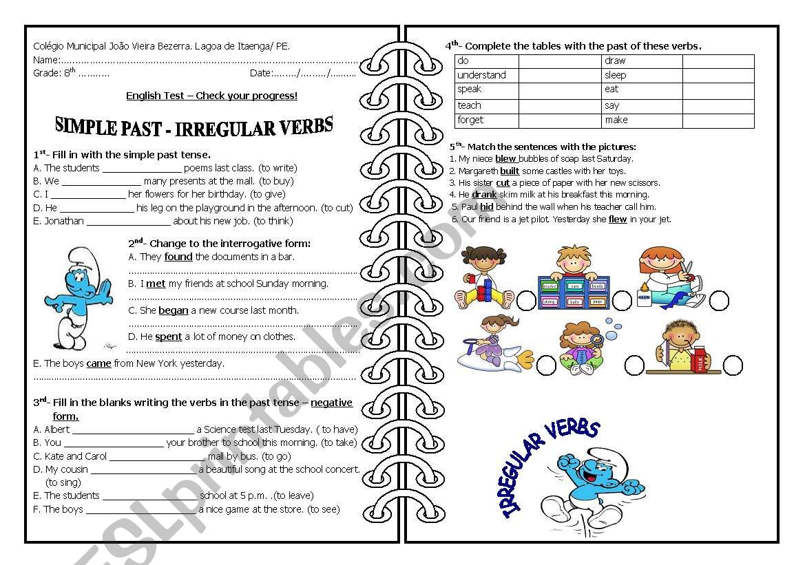 Irregular Verbs Worksheet For 3rd Grade