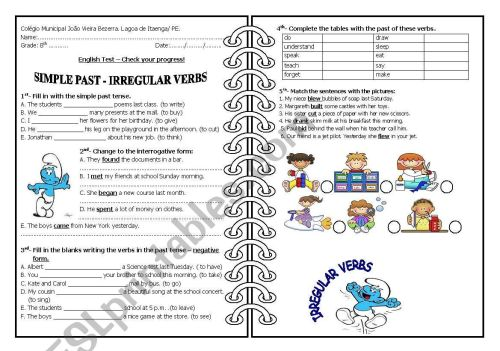 small resolution of Past simple - irregular verbs - ESL worksheet by 5839
