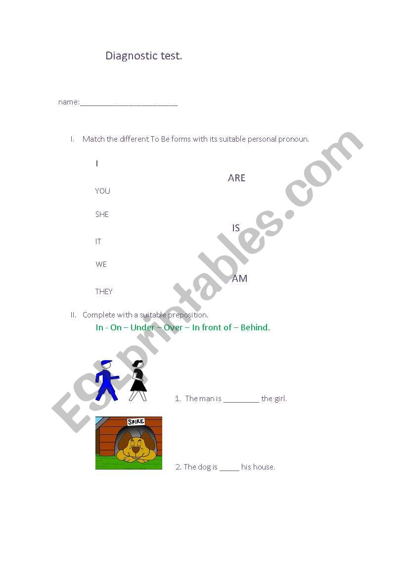English worksheets: diagnostic test, preposition of place
