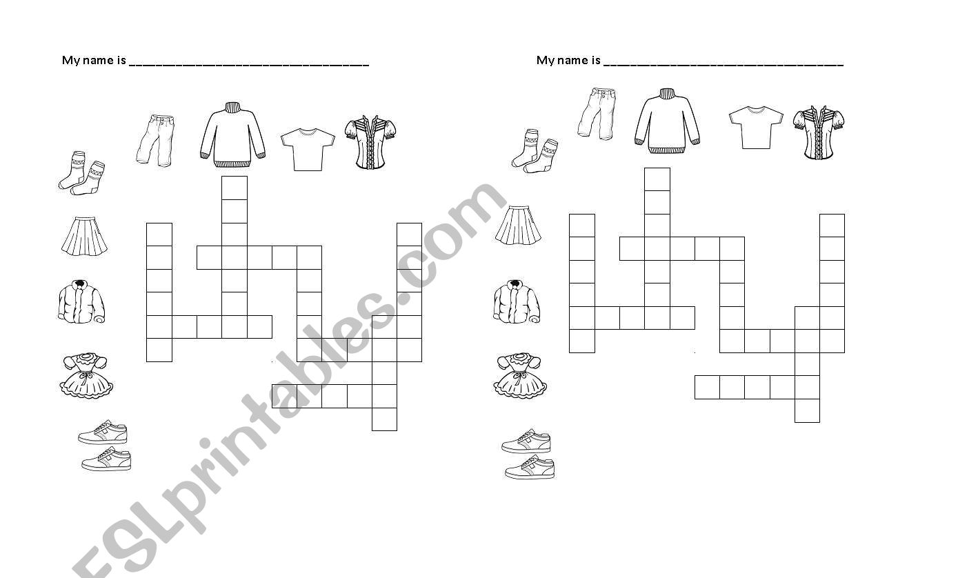 English Worksheets Clothes Crossword