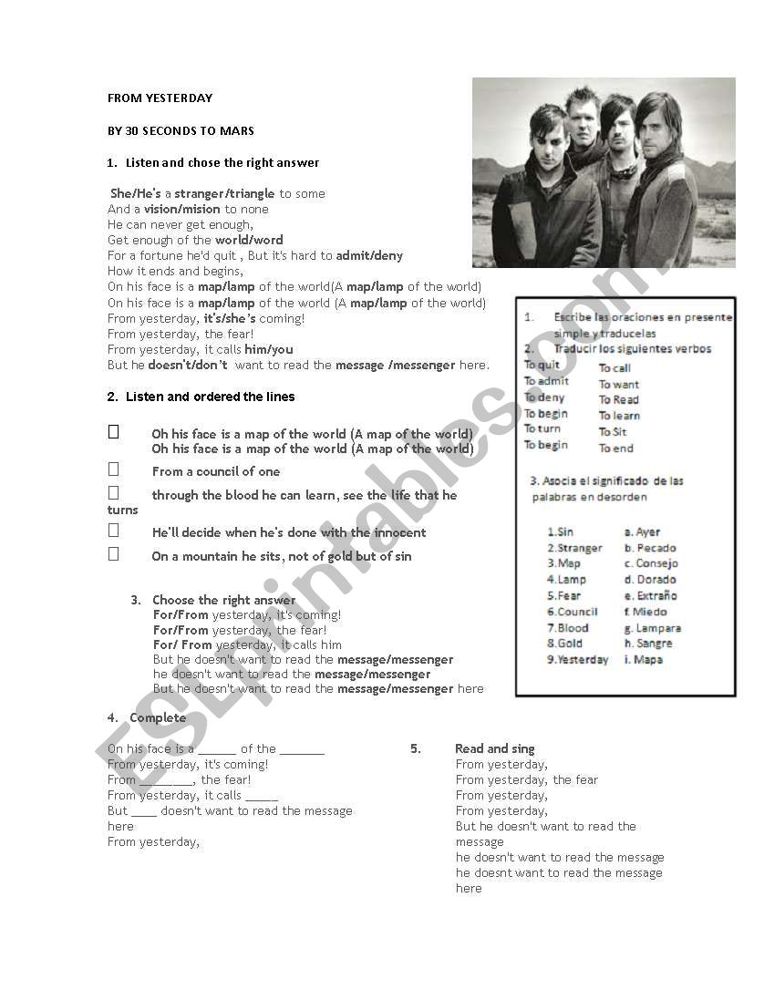 English worksheets: 30 seconds to mars Listening worksheet