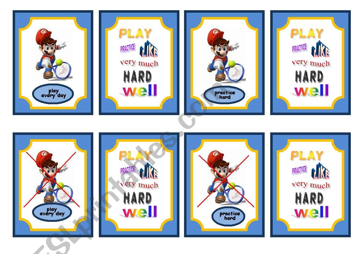 Sports Simple Present And Adverb Game Cards Set 4 Of 5