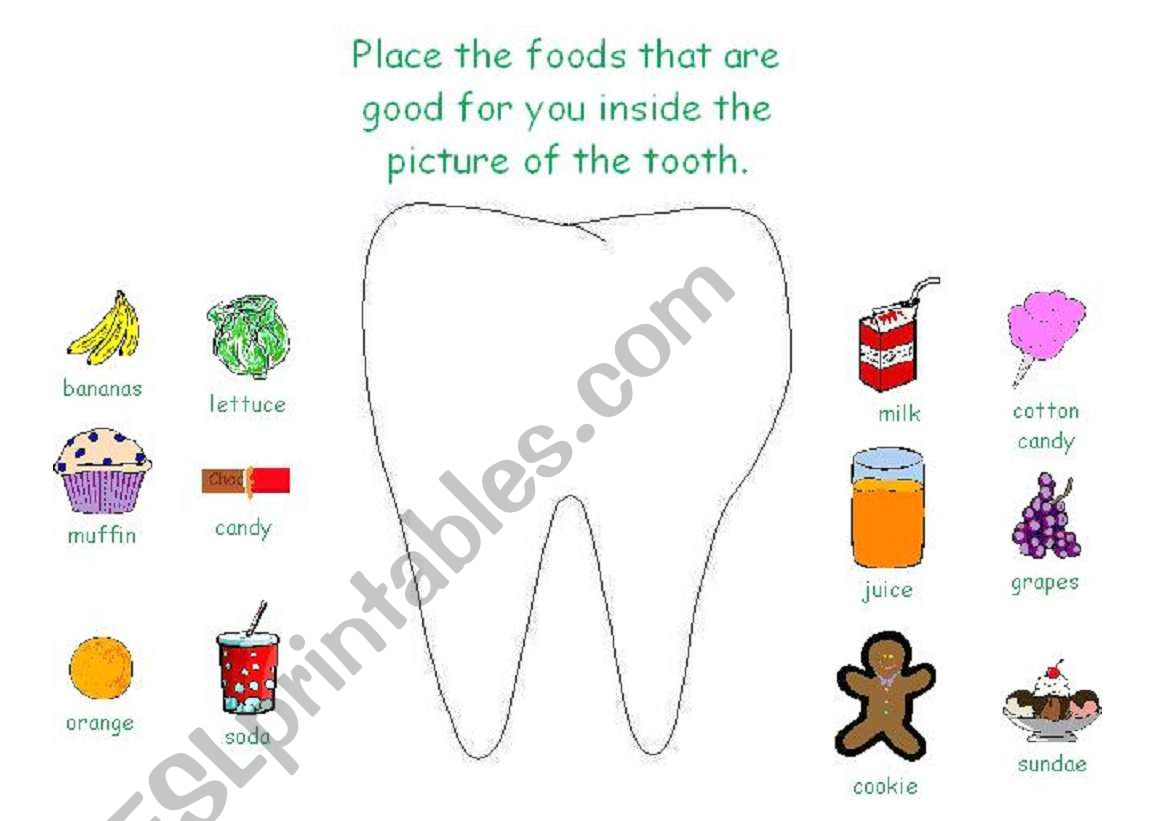 English Worksheets Dental Health Activity