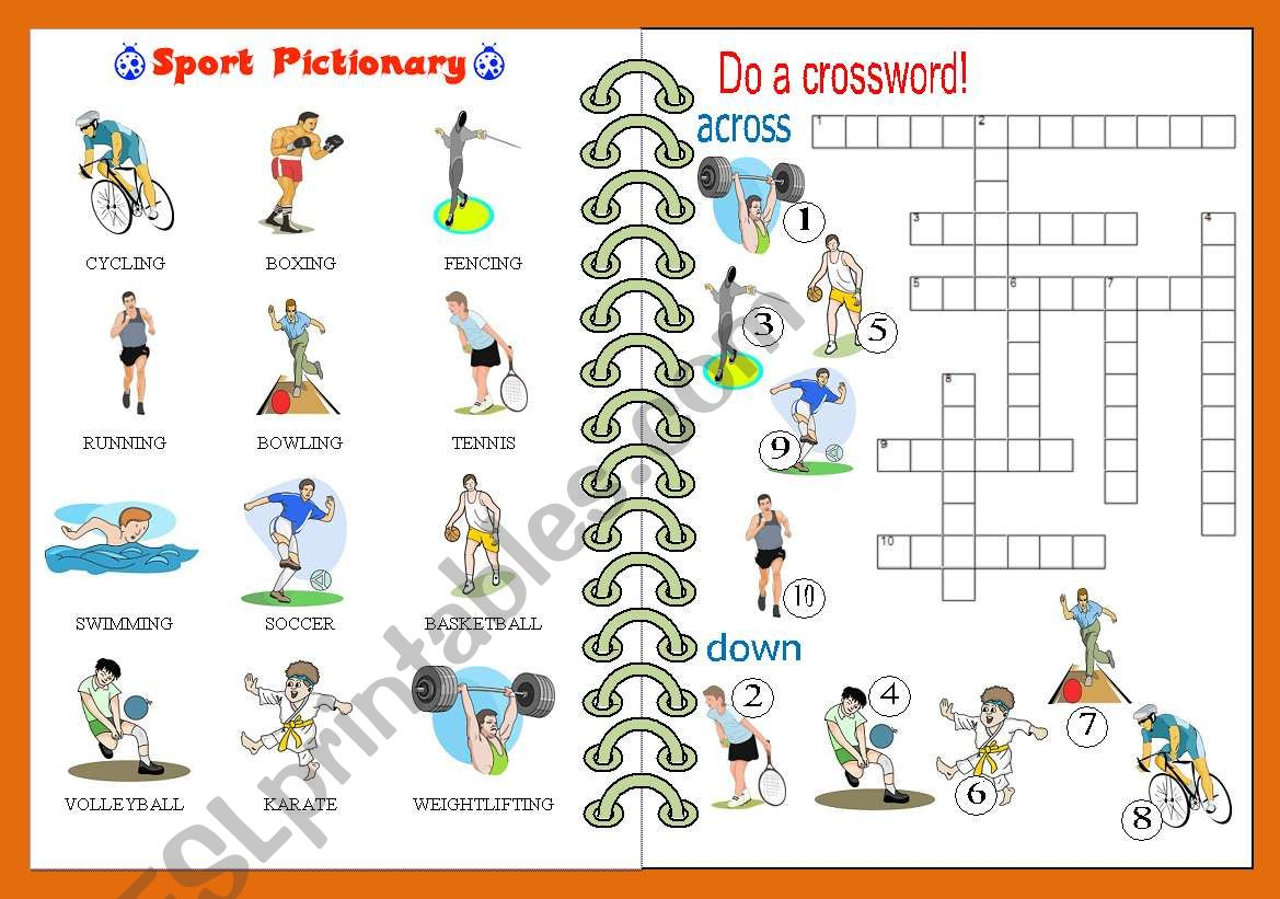 Sport Pictionary And Crossword