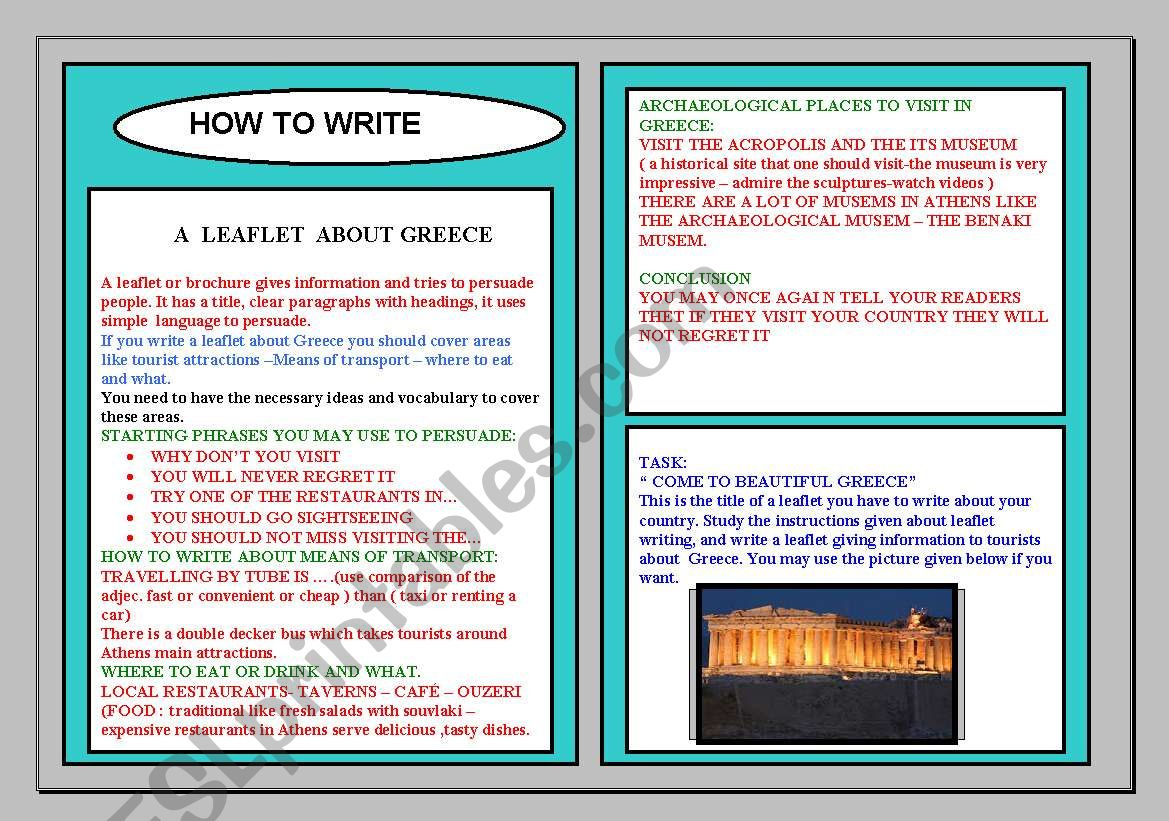 How To Write A Leaflet