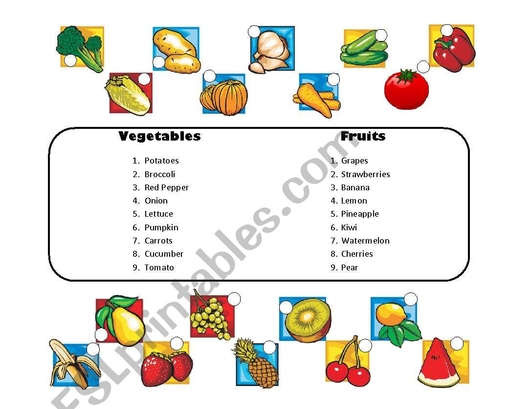 Matching Vegetables And Fruit