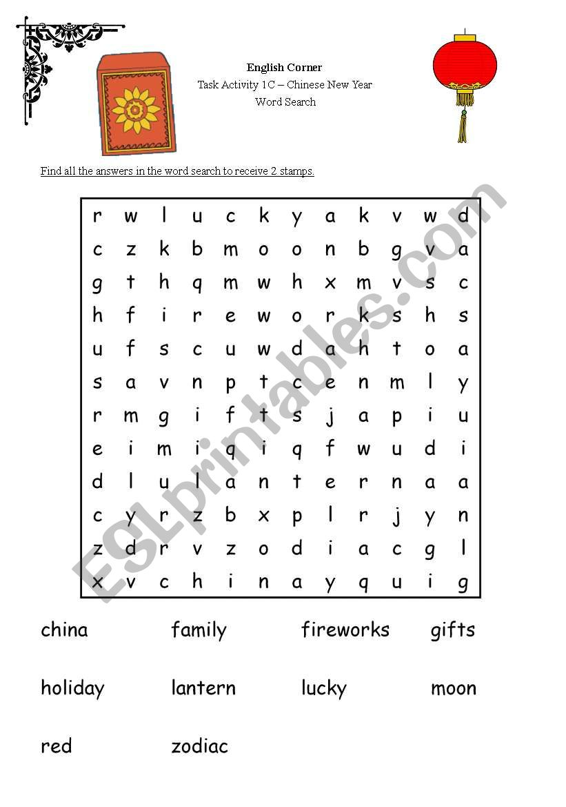 English worksheets: Chinese New Year Word Search