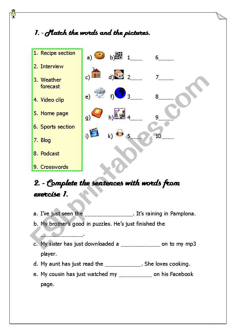 hight resolution of Mass Media Vocabulary - ESL worksheet by butterfly10