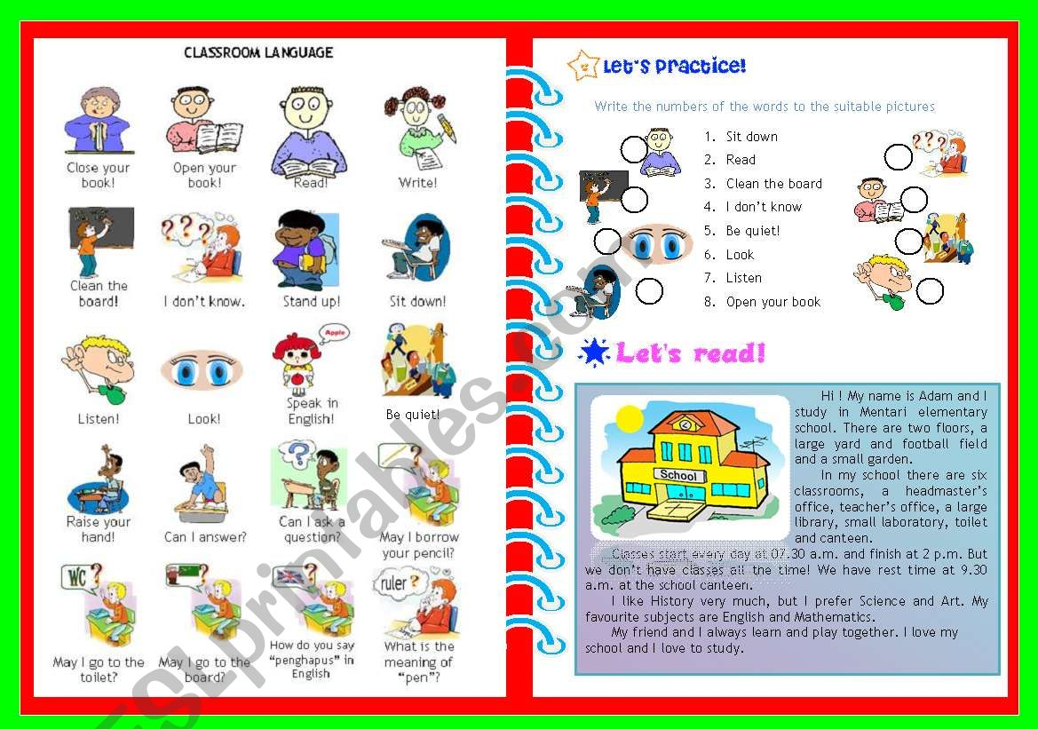Classroom Language Exercises And Reading Activity
