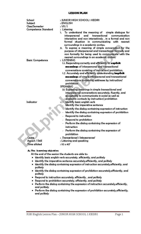 English worksheets: lLESSON PLAN OF RSBI JUNIOR HIGH SCHOOL