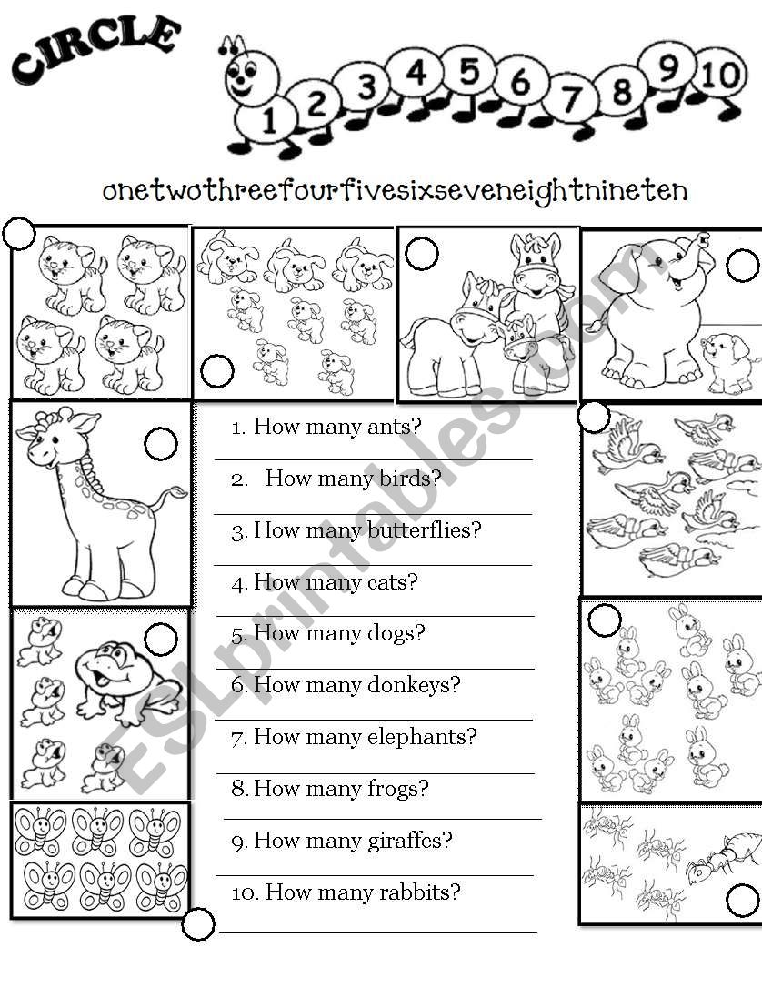 English worksheets: Numbers 0-10 + How Many...? (worksheet)