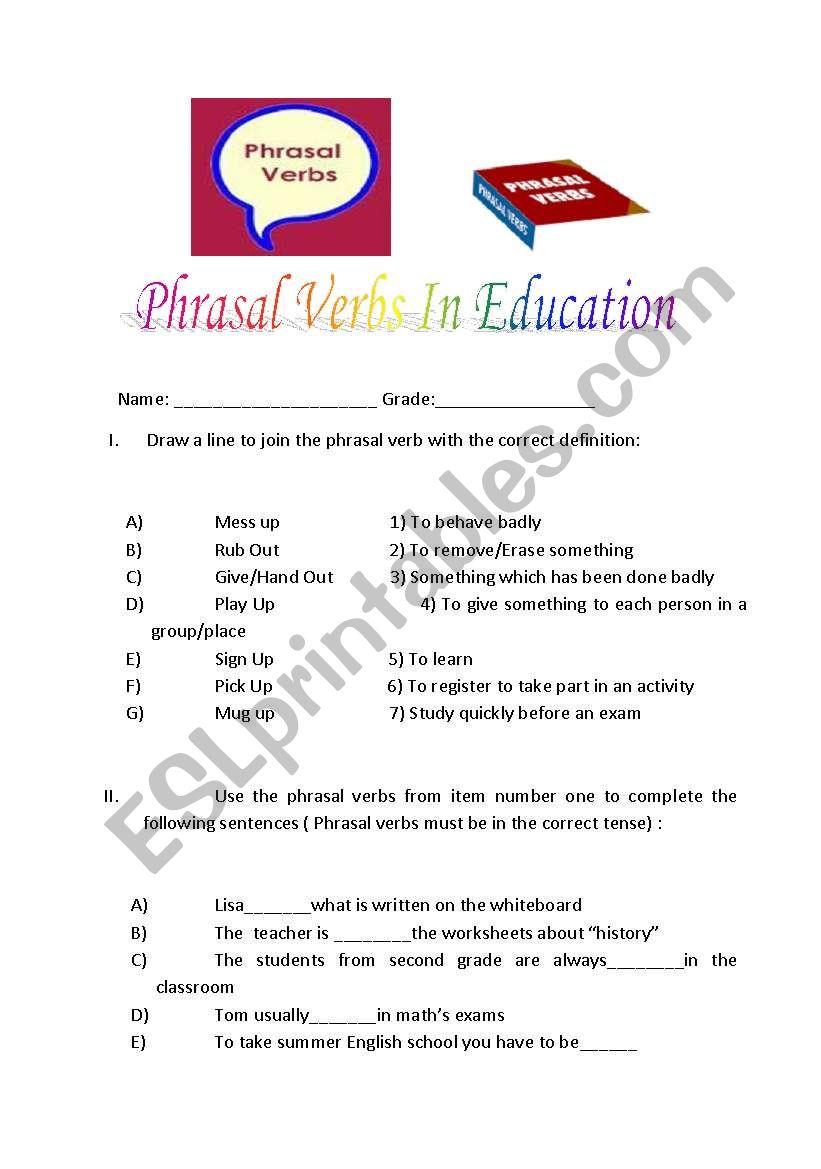 medium resolution of Phrasal verbs related to education - ESL worksheet by kuesko