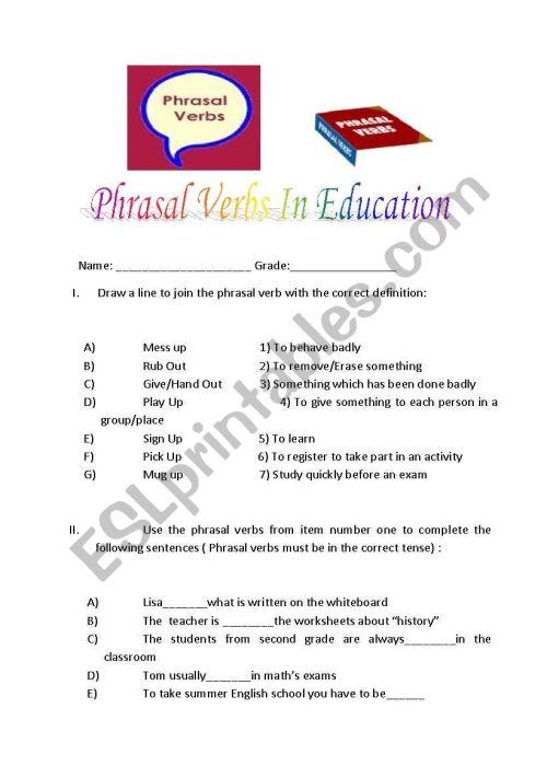 small resolution of Phrasal verbs related to education - ESL worksheet by kuesko