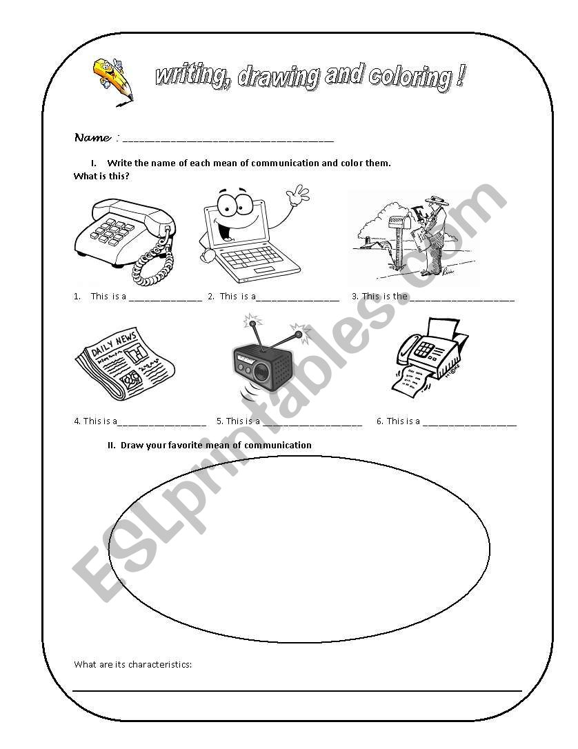English worksheets: means of communication