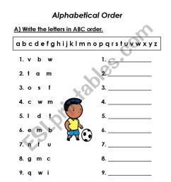 ABC ORDER - ESL worksheet by amals80rr [ 1169 x 821 Pixel ]