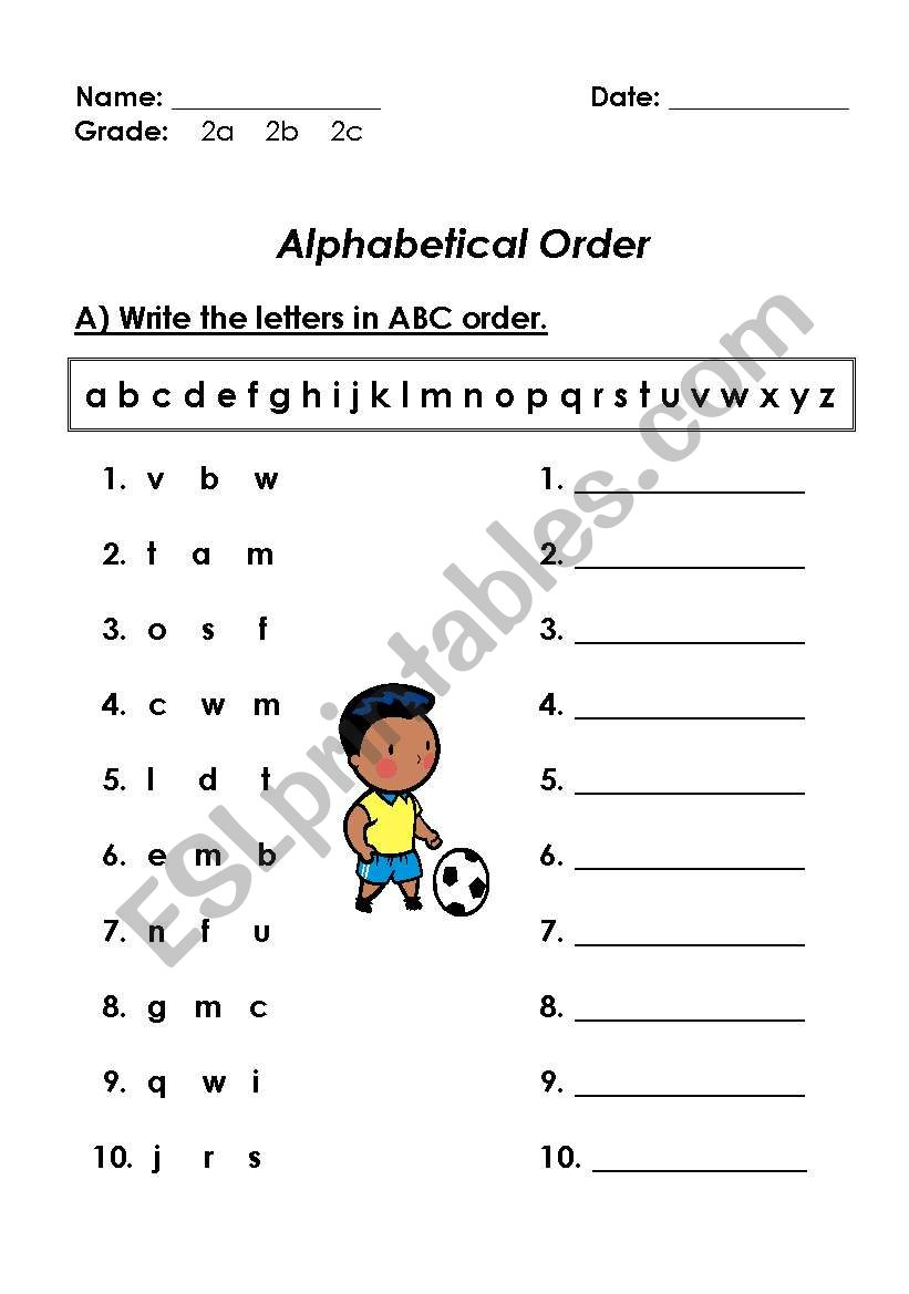 medium resolution of ABC ORDER - ESL worksheet by amals80rr