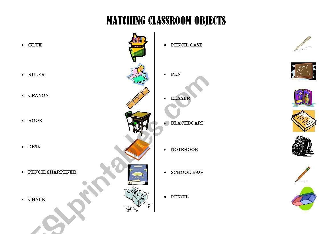 Matching Classroom Objects