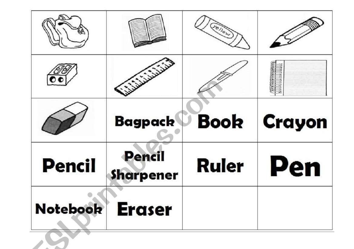 English Worksheets School Supplies Memory Game