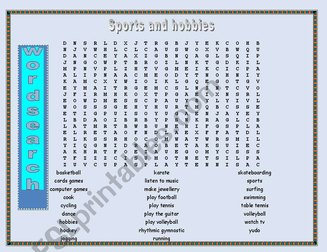 Wordsearch Hobbies And Sports