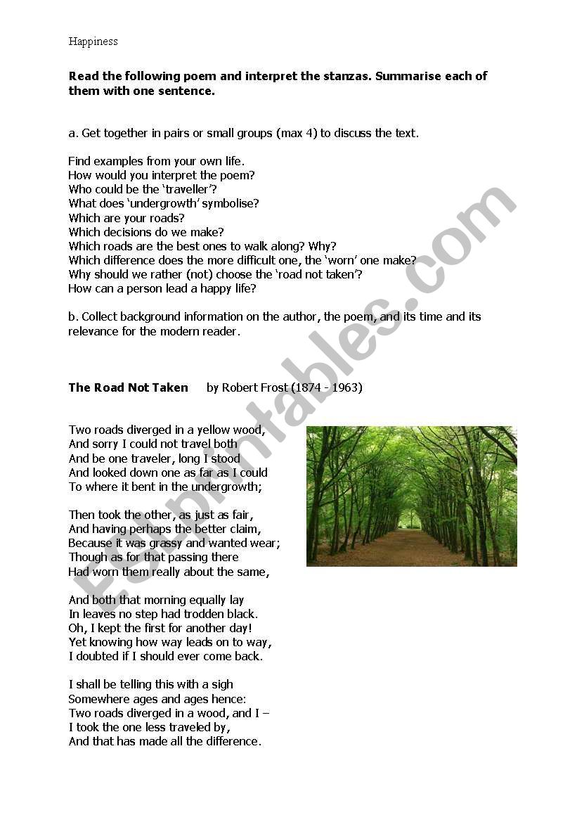 image relating to The Road Not Taken Printable known as i took the street significantly less traveled poem