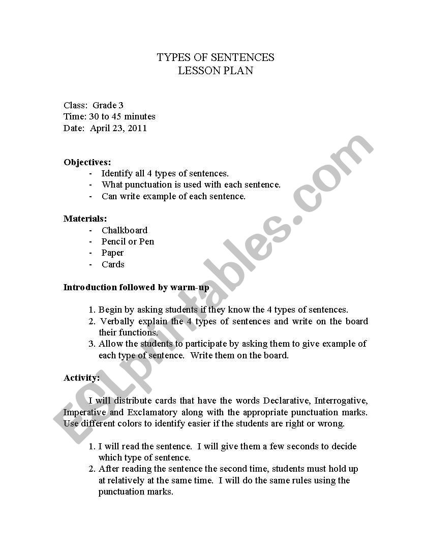 hight resolution of English worksheets: 4 types of sentences