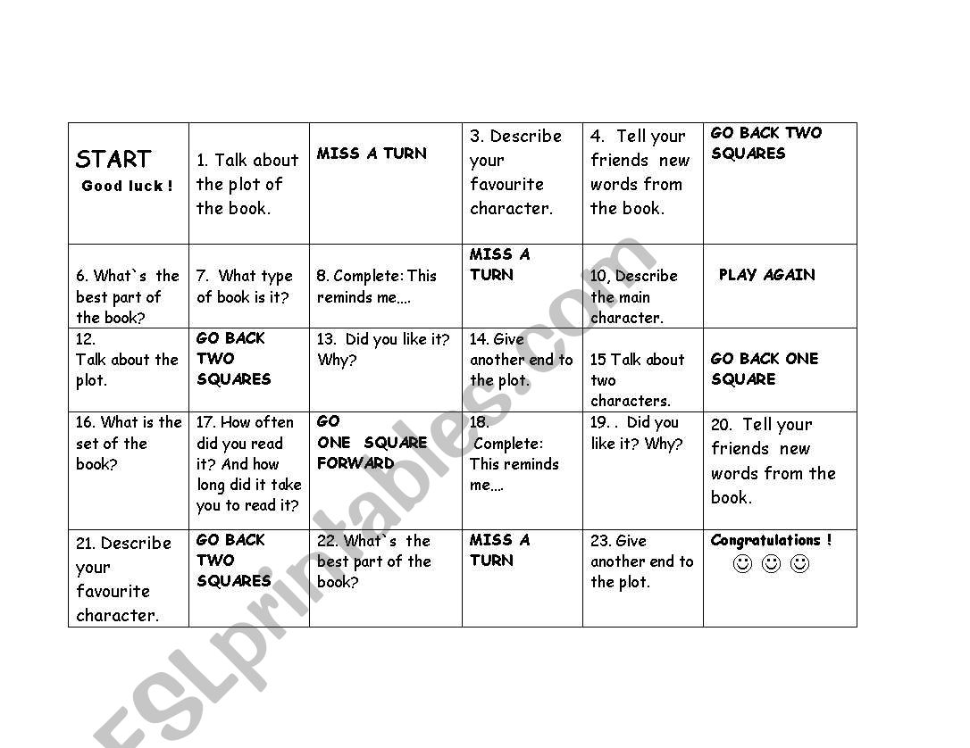 English Worksheets Readers Board Game