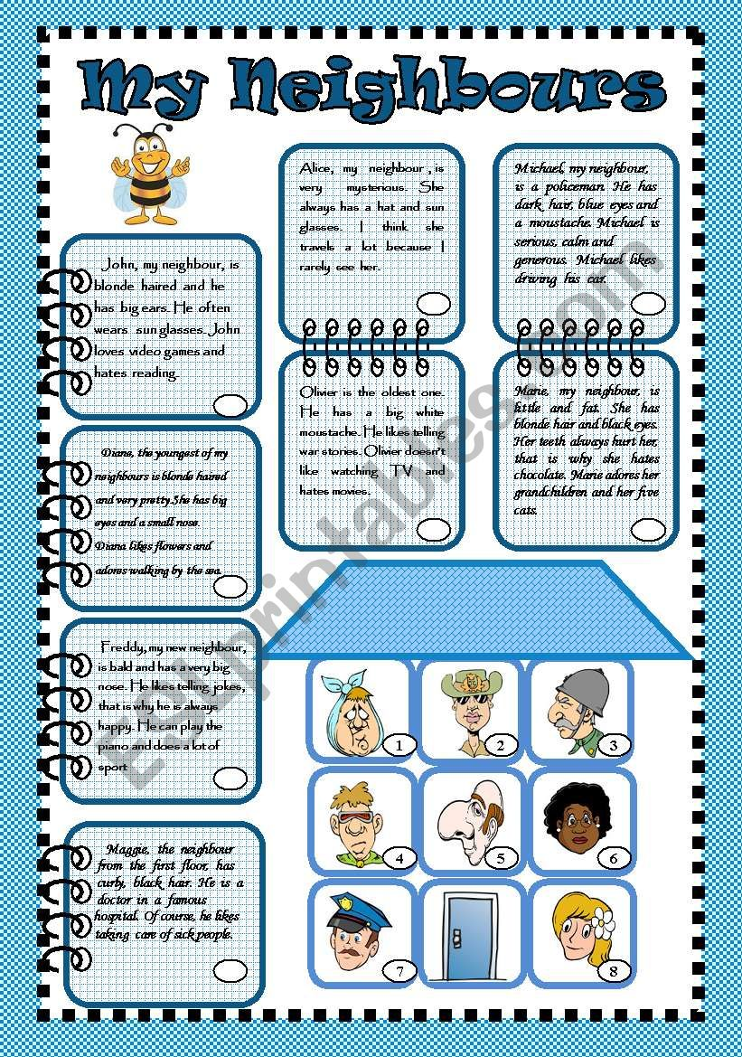 hight resolution of My neighbours - ESL worksheet by bea1901
