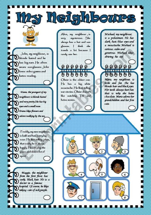 small resolution of My neighbours - ESL worksheet by bea1901